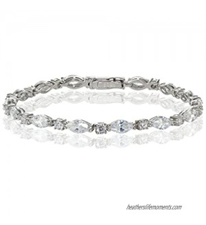 Hoops & Loops Marquise & Oval CZ Tennis Bracelet Sterling Silver Yellow Gold Flash Sterling Rose Gold Flash Sterling