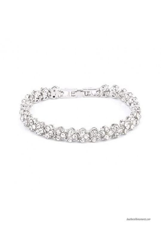 Women Crystal Zirconia Silver Plated Tennis Bracelet Shiny Diamond Bracelet for Wife Mom Girl Friend Birthday Present
