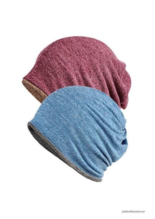 Mens Womens Reversible Slouchy Beanie Hat Scarf Chemo Cap Headwear Set of 2/3