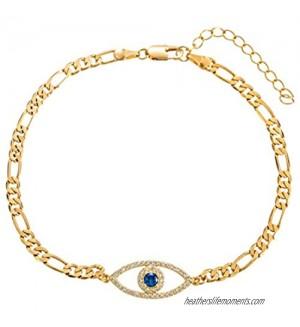 kelistom Evil Eye Anklet for Women Teen Girls  Dainty Real 18K White Gold Figaro Chain Bracelet Anklet for Women  Zircon Filled Evil Eye Charm Ankle Bracelets Minimalist Jewelry