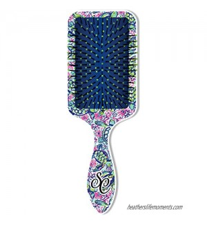 Nautical Turtle Pattern Blue and Pink 6 inch Acrylic Square Paddle Hair Brush