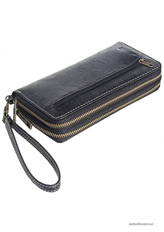 Autumnwell RFID Blocking Double Zipper Long Clutch Wallet Cellphone Wallet for Women with Hand Strap for Card  Cash  Coin  Bill …