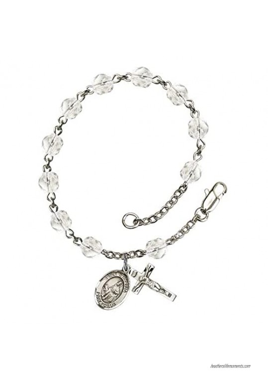 St. Dymphna Silver Plate Rosary Bracelet 6mm April Crystal Fire Polished Beads Crucifix Size 5/8 x 1/4 medal charm