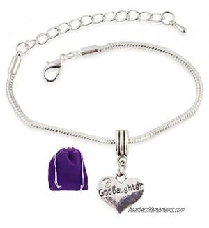 Emerald Park Jewelry Goddaughter on Heart Snake Chain Charm Bracelet