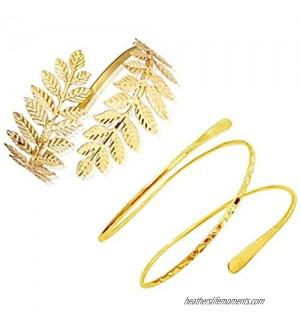 FUTIMELY 2Pieces Leaf Upper Arm Cuff Bangle Armband Bracelets for Women Teen Girls Punk Swirl Coil Armlets Bracelets Egyptian Jewelry Set